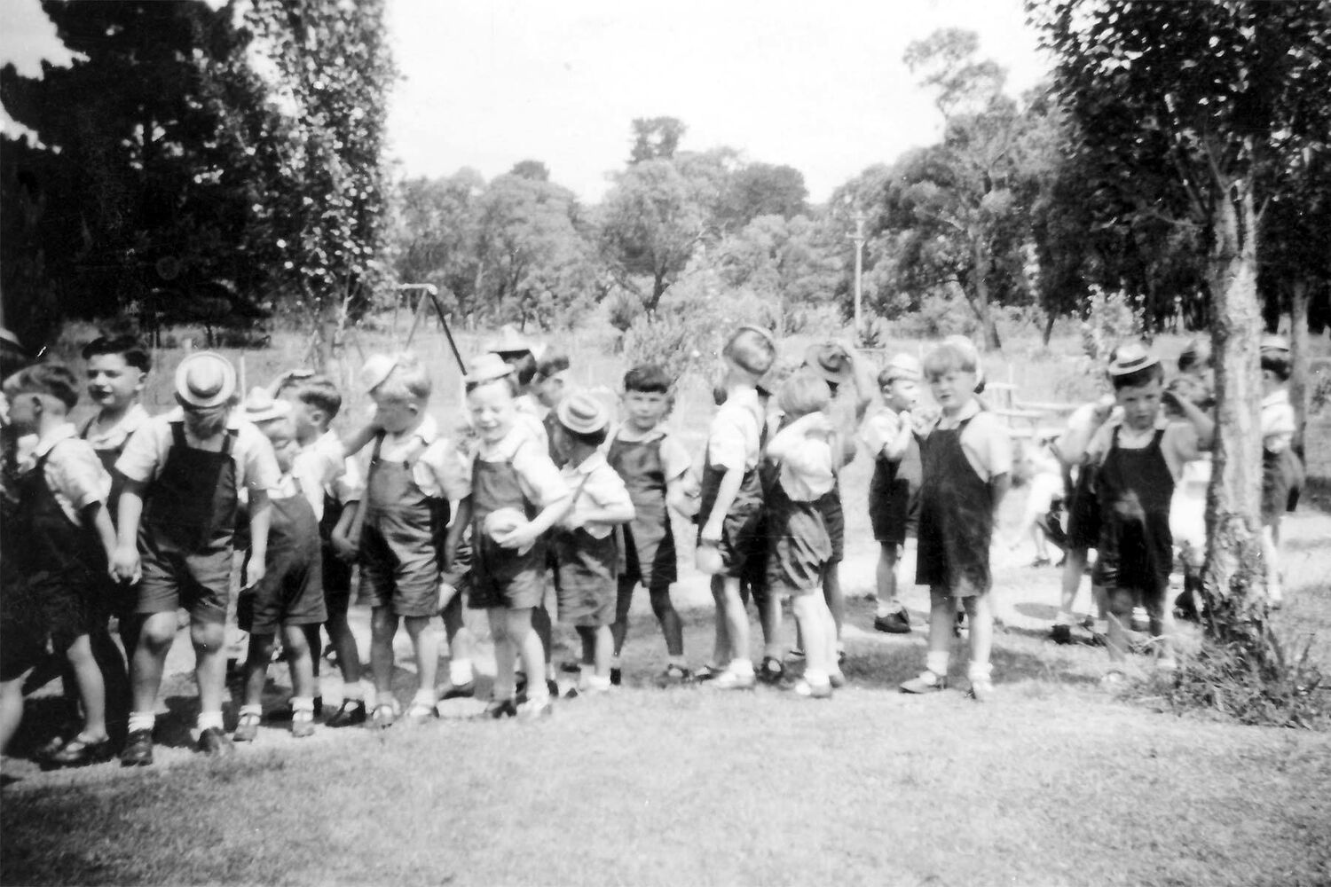 Boys Lined Up At The Back Of St Anthony's Home Kew In The 1940s