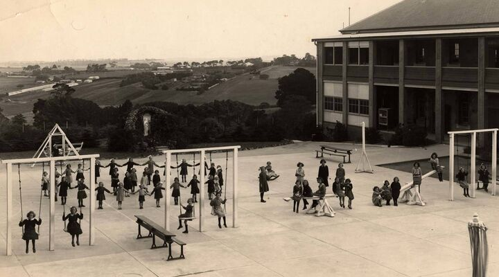 The Playground at St Catherines Girls Orphanage In Highton Geelong in the 1930s
