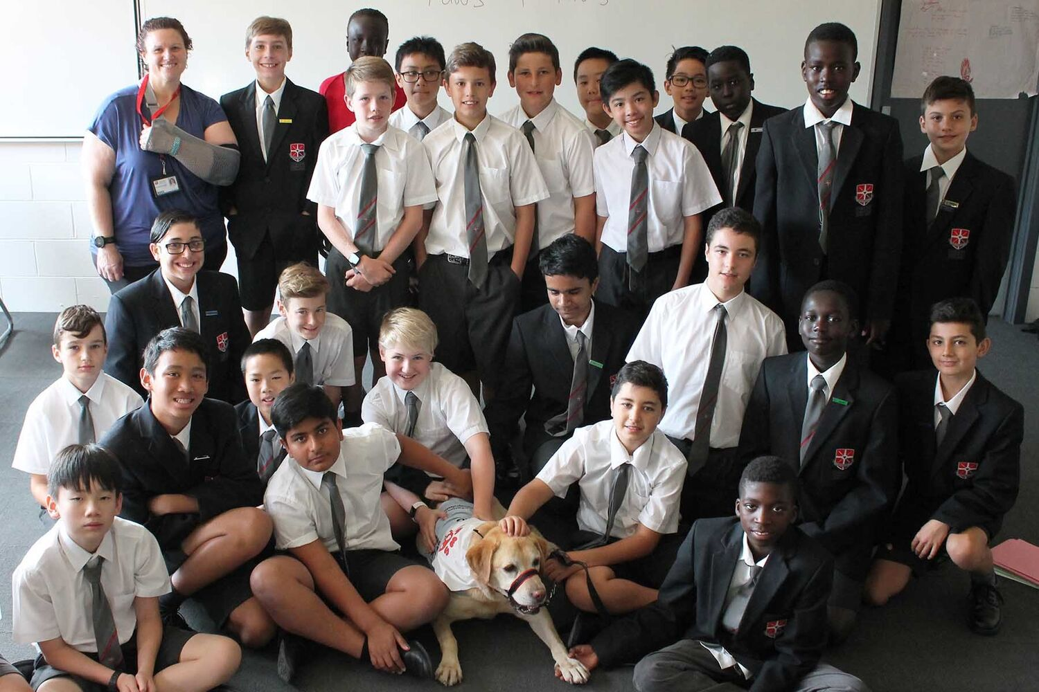 Group Of School Boys With Therapy Dog