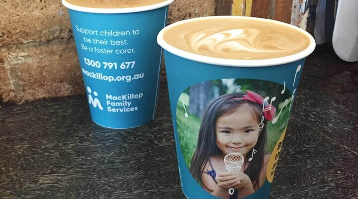Mackillop Foster Care Cups at Good Loaf Cafe in Bendigo