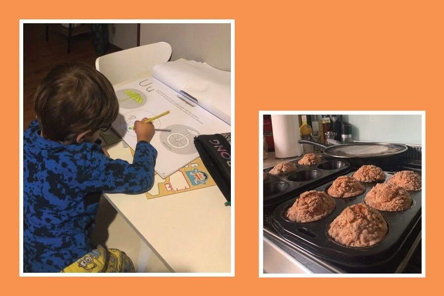 Covid Challenge Boy Drawing And Cooking Muffins